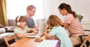 family working from home during coronavirus epidemic